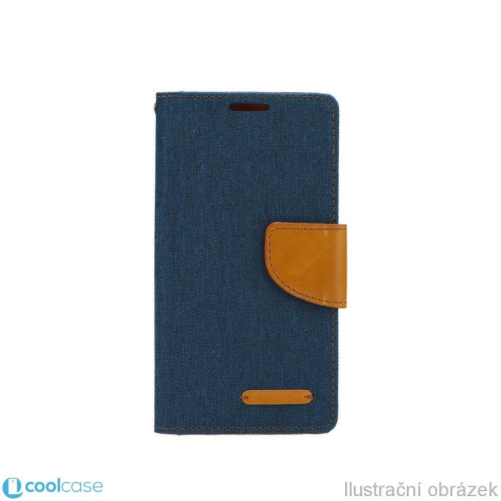 Luxusní flipové pouzdro Canvas Book pro Samsung Galaxy CORE PRIME NAVY MODRÉ (Flipové knížkové vyklápěcí pouzdro na mobilní telefon Samsung Galaxy CORE PRIME)