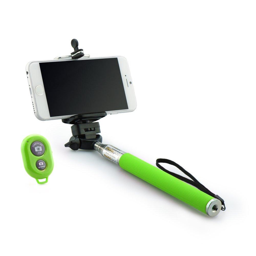 Selfie tyč s Bluetooth dálkovým ovladáním BLUN ROD pro mobilní telefony Zelená (Bluetooth selfie tyč s držákem pro mobilní telefony a fotoaparáty)
