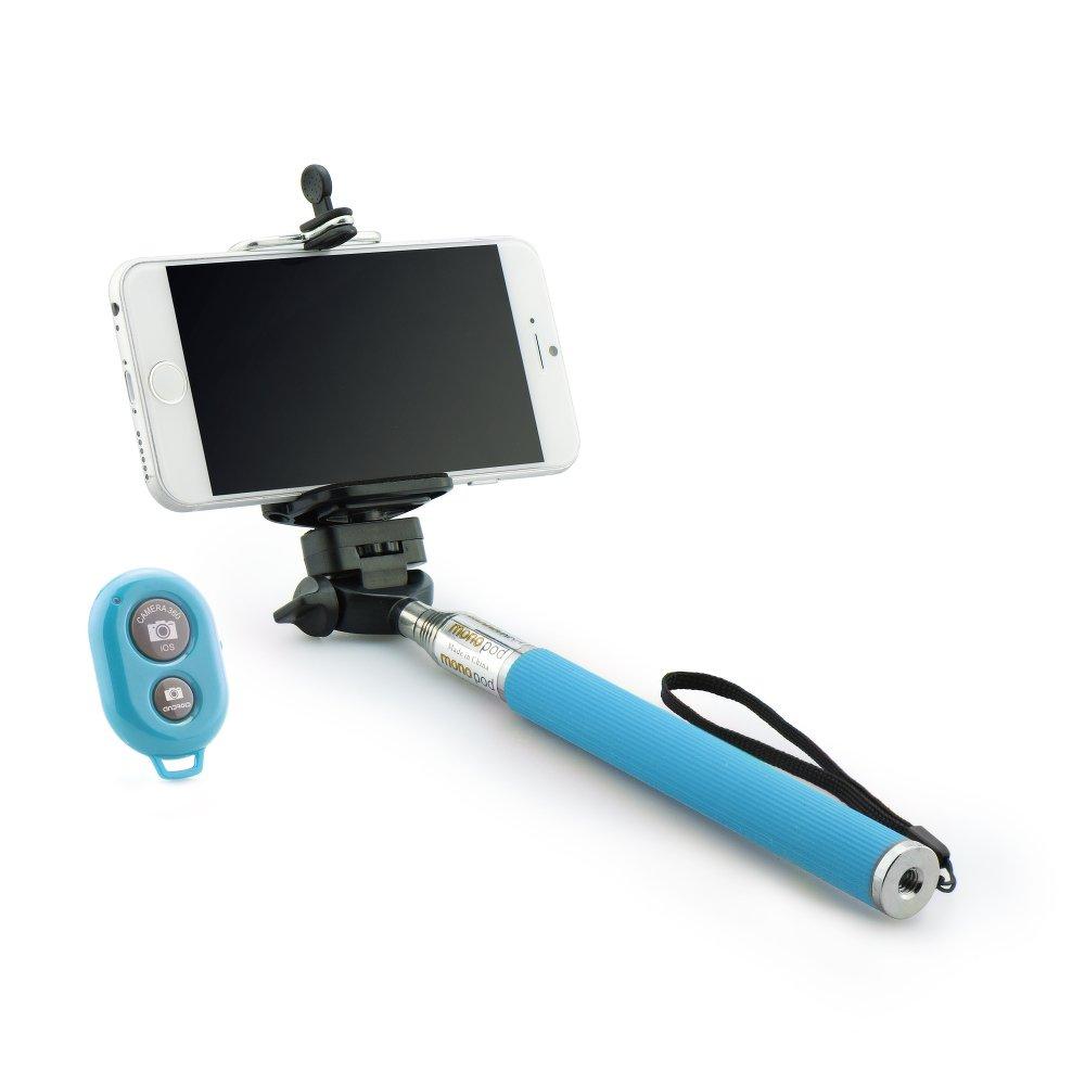 Selfie tyč s Bluetooth dálkovým ovladáním BLUN ROD pro mobilní telefony Modrá (Bluetooth selfie tyč s držákem pro mobilní telefony a fotoaparáty)