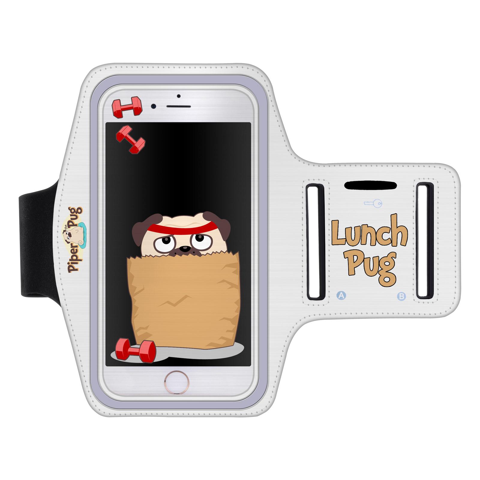 """Sportovní pouzdro LUNCH PUG pro mobily do 5,5"""" iPhone 6 Plus/ S7 Edge bílé (Pouzdro na běhání pro mobilní telefony do 5,5 palců)"""