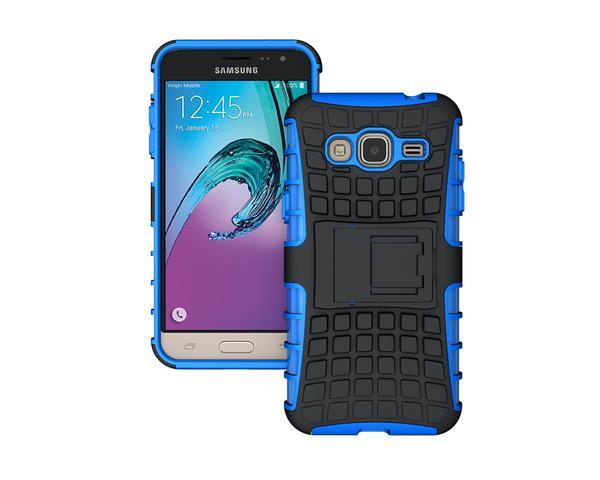 Odolné pouzdro PANZER CASE na mobil Samsung Galaxy J3 (2016) Modré (Odolný kryt či obal na mobil Samsung Galaxy J3 (2016) se stojánkem)