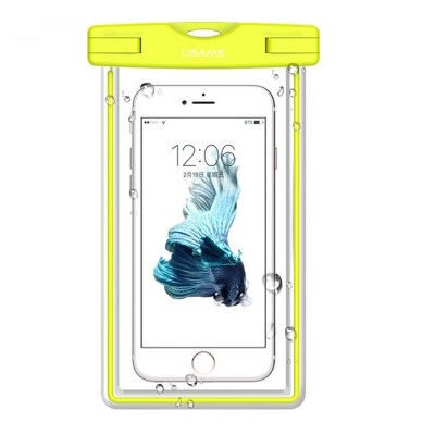 """Vodotěsné pouzdro USAMS Luminous IPX8 pro mobilní telefony do 5,5"""" GREEN (Vodotěsné pouzdro pro mobilní telefony s úhlopříčkou do 5,5 palců)"""