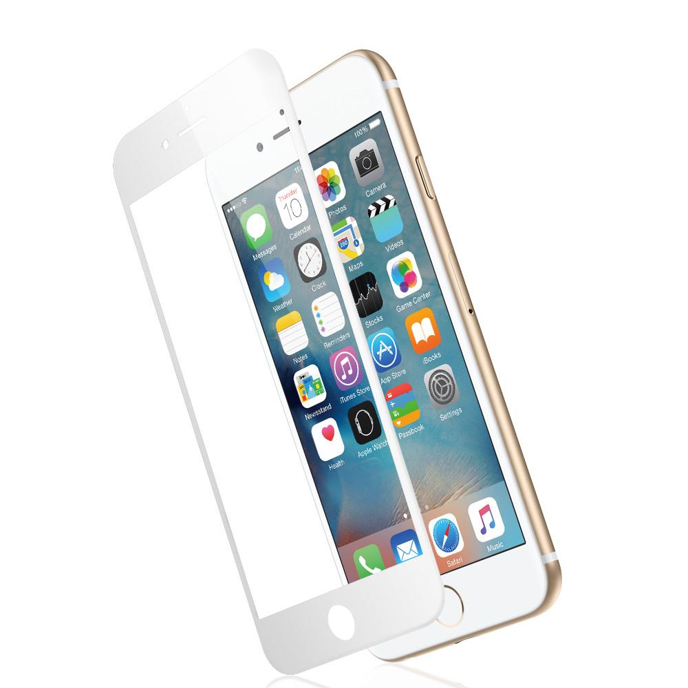 Ochranné tvrzené temperované 3D sklo pro Apple iPhone 6 - ZAHNUTÉ, BÍLÉ