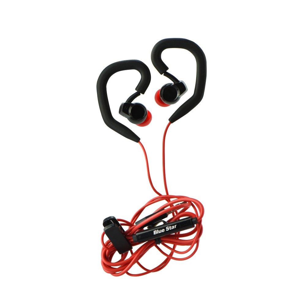 Handsfree sportovní sluchátka do uší BLUE STAR SP-80, 3,5mm jack, červená-černá (Sportovní sluchátka do uší s měkkými koncovkami pro bezproblémový poslech hudby )