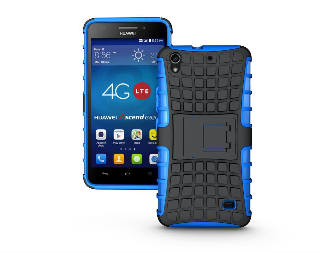 Odolné pouzdro PANZER CASE na mobilní telefon Huawei Ascend G620s MODRÉ (Odolný kryt či obal na mobil Huawei Ascend G620s Lite se stojánkem)