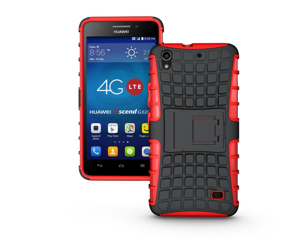 Odolné pouzdro PANZER CASE na mobilní telefon Huawei Ascend G620s ČERVENÉ (Odolný kryt či obal na mobil Huawei Ascend G620s Lite se stojánkem)