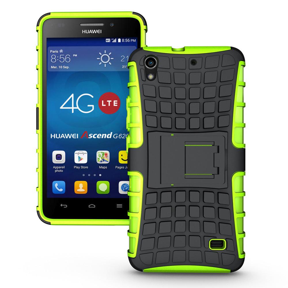 Odolné pouzdro PANZER CASE na mobilní telefon Huawei Ascend G620s ZELENÉ (Odolný kryt či obal na mobil Huawei Ascend G620s Lite se stojánkem)