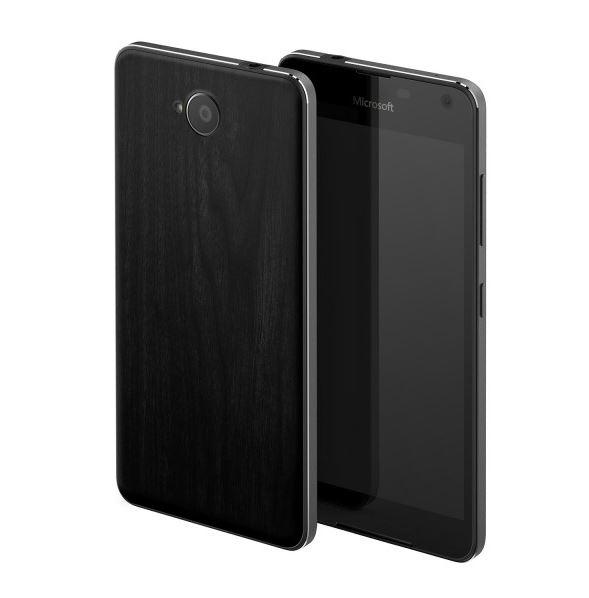 Výměnný zadní kryt Mozo na mobil Microsoft Lumia 650 Black Wood (Zadní kryt na mobilní telefon v průhledném provedení Microsoft Lumia 650)