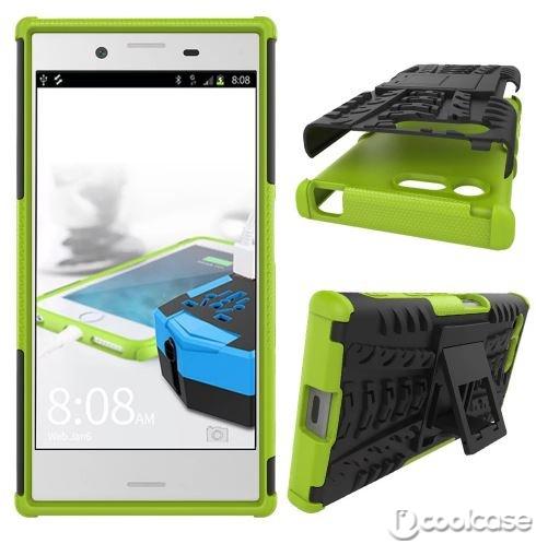 Odolné pouzdro PANZER CASE NEO na mobilní telefon Sony Xperia X Compact Zelené (Odolný kryt či obal na mobil Sony Xperia X Compact se stojánkem)