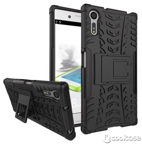 Odolné pouzdro PANZER CASE NEO na mobilní telefon Sony Xperia XZ Černé (Odolný kryt či obal na mobil Sony Xperia XZ se stojánkem)
