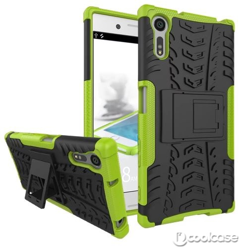 Odolné pouzdro PANZER CASE NEO na mobilní telefon Sony Xperia XZ Zelené (Odolný kryt či obal na mobil Sony Xperia XZ se stojánkem)