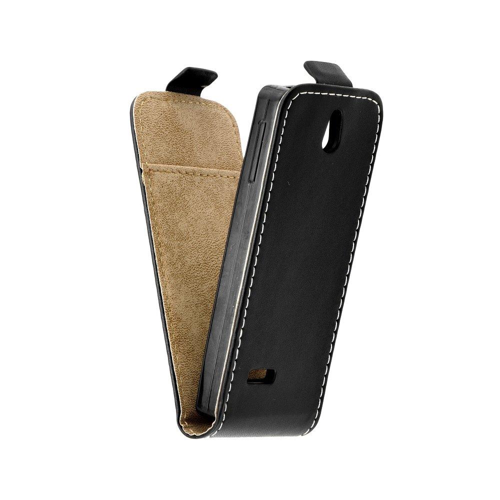 Vertikální flipové pouzdro FLEXI FRESH pro Nokia 515 Černé (Flipové vertikální vyklápěcí pouzdro na mobilní telefon Nokia 515)