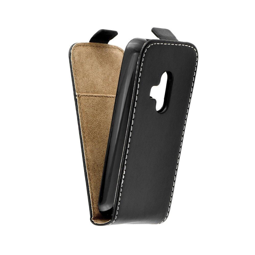 Vertikální flipové pouzdro FLEXI FRESH pro Nokia 220 Černé (Flipové vertikální vyklápěcí pouzdro na mobilní telefon Nokia 220)