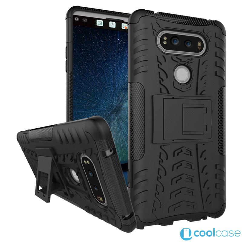 Odolné pouzdro PANZER CASE na mobilní telefon LG V20 Černé (Odolný kryt či obal na mobil LG V20 se stojánkem)