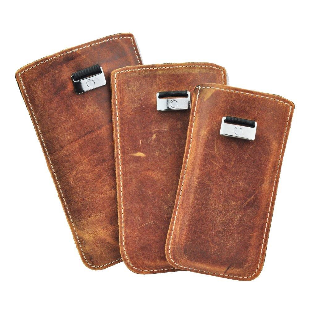 Univerzální kožené pouzdro na mobil s vysouváním PREMIUM pro S5610 / S5611 (Univerzální ručně dělané pouzdro z pravé kůže s vysouváním typu kapsička pro telefony Samsung Galaxy S5610 / S5611, Nokia 206 / 515)