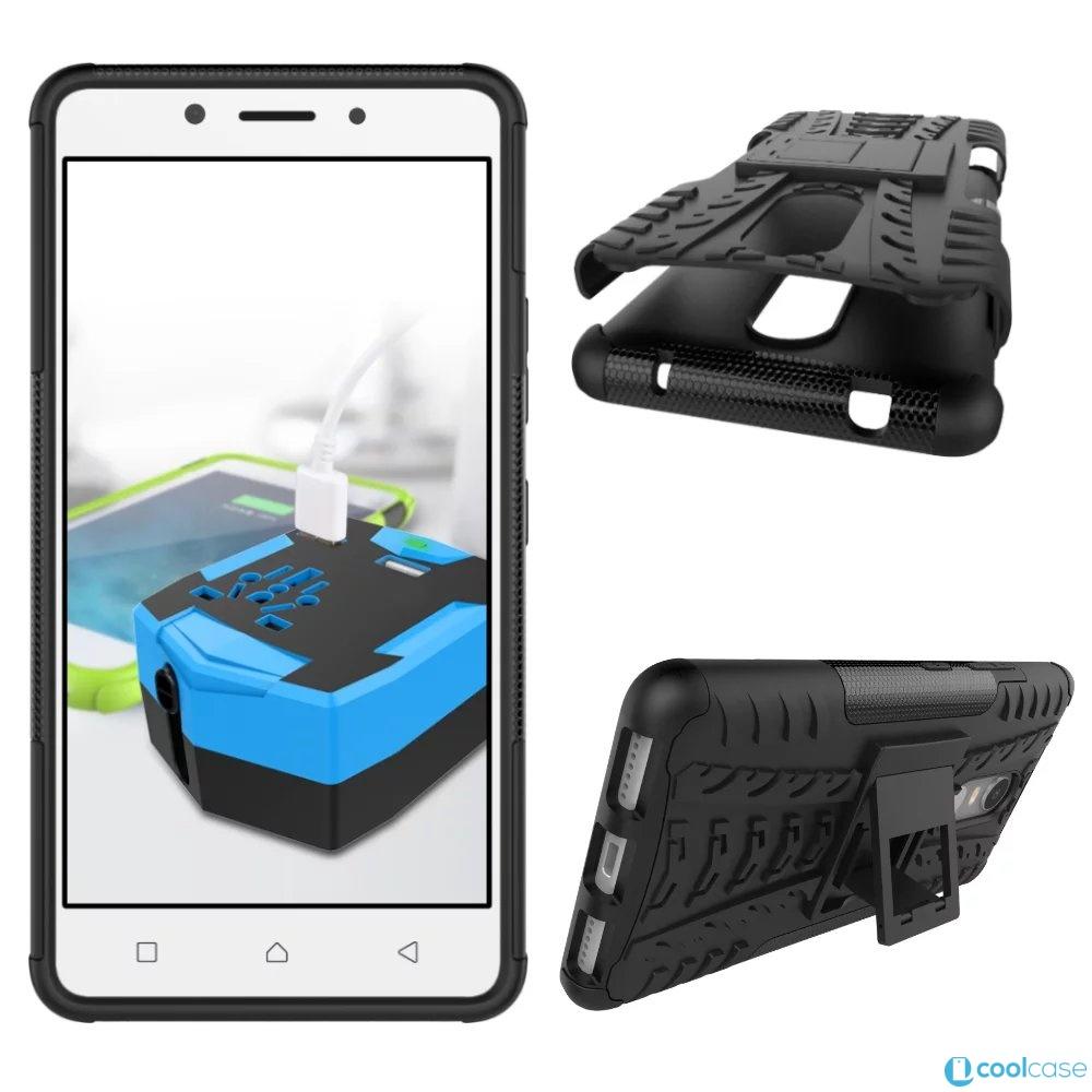 Odolné pouzdro PANZER CASE na mobilní telefon Lenovo K6 Černé (Odolný kryt či obal na mobil Lenovo K6 se stojánkem)