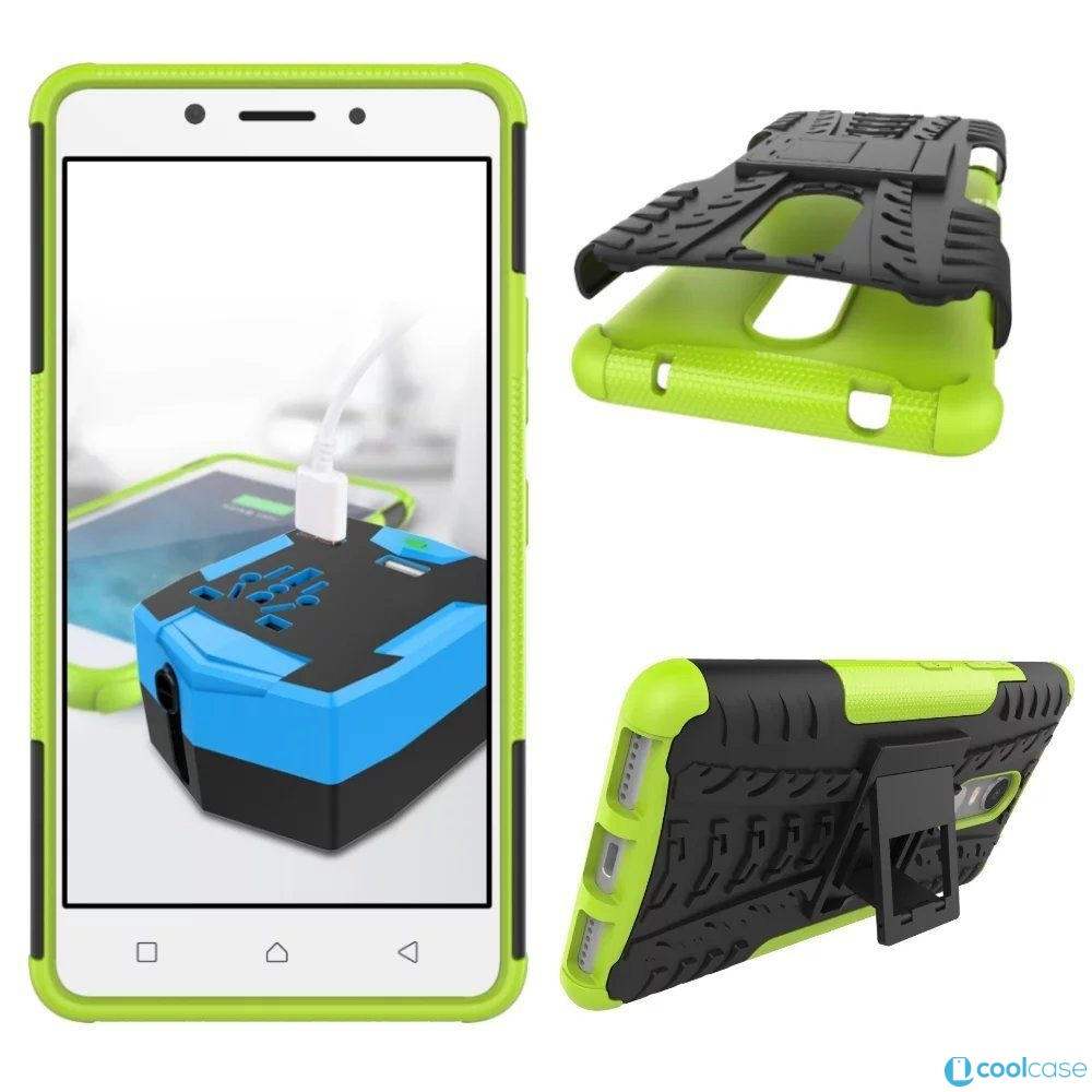 Odolné pouzdro PANZER CASE NEO na mobilní telefon Lenovo Vibe K6 Zelené (Odolný kryt či obal na mobil Lenovo K6 se stojánkem)