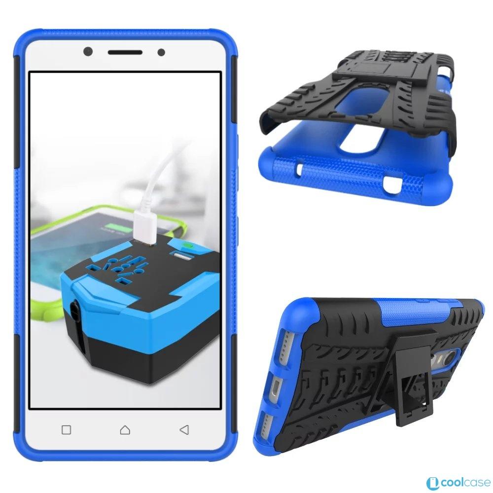 Odolné pouzdro PANZER CASE na mobilní telefon Lenovo K6 Modré (Odolný kryt či obal na mobil Lenovo K6 se stojánkem)