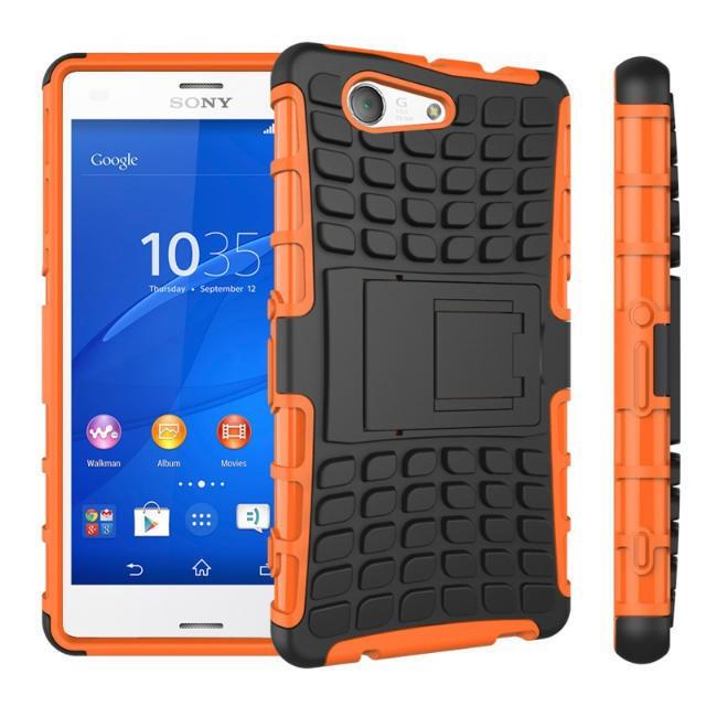 Odolné pouzdro PANZER CASE na mobilní telefon Sony Xperia Z3 Compact oranžové (Odolný kryt či obal na mobil Sony Xperia Z3 Compact se stojánkem)