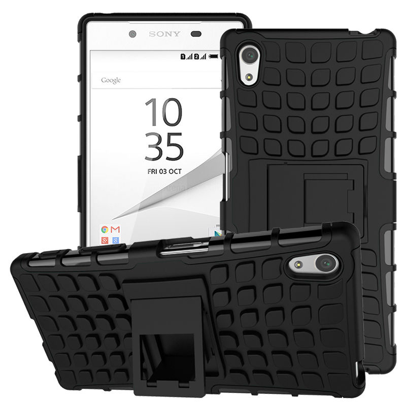 Odolné pouzdro PANZER CASE na mobilní telefon Sony Xperia Z3+ (plus) Černé (Odolný kryt či obal na mobil Sony Xperia Z3+ (plus) / Z4 se stojánkem)
