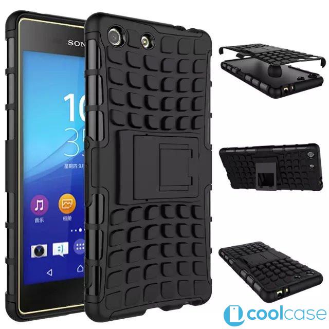 Odolné pouzdro PANZER CASE na mobilní telefon Sony Xperia M5 Černé (Odolný kryt či obal na mobil Sony Xperia M5 se stojánkem)