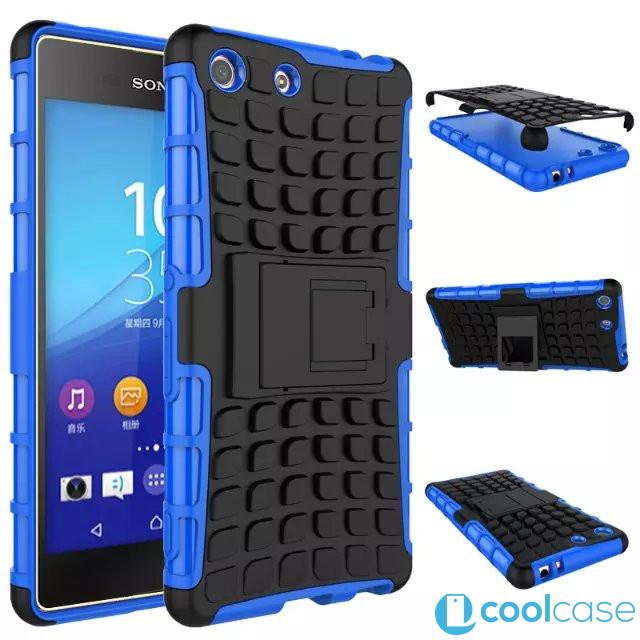 Odolné pouzdro PANZER CASE na mobilní telefon Sony Xperia M5 Modré (Odolný kryt či obal na mobil Sony Xperia M5 se stojánkem)