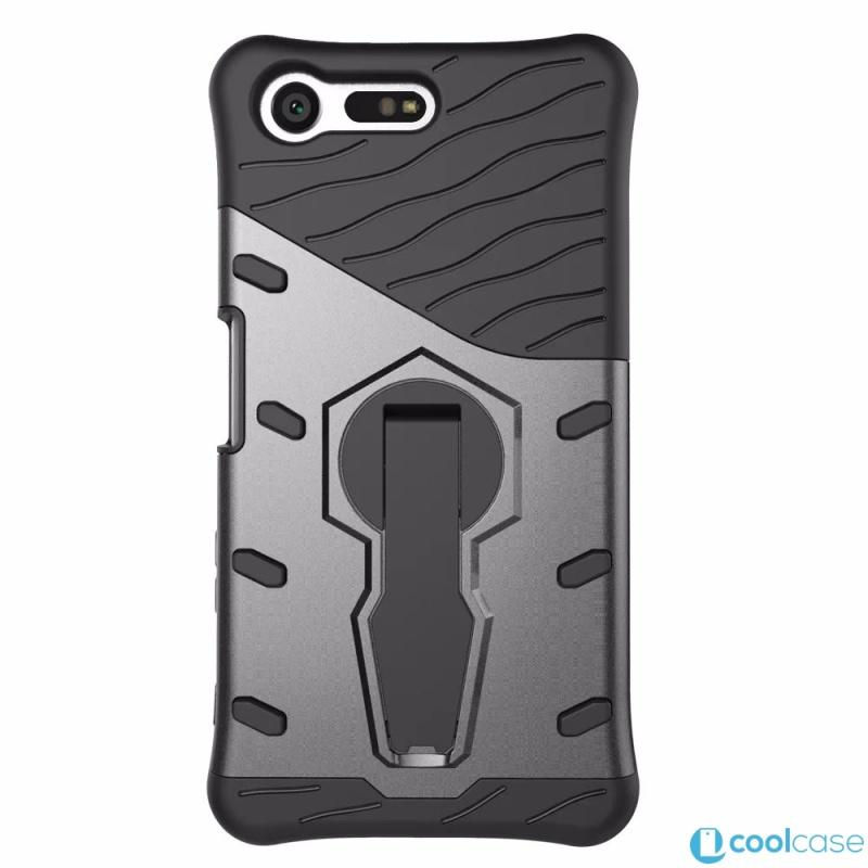 Odolné pouzdro NEW ARMOR CASE na mobilní telefon Sony Xperia X Compact Černé (Odolný kryt či obal na mobil Sony Xperia X Compact se stojánkem)