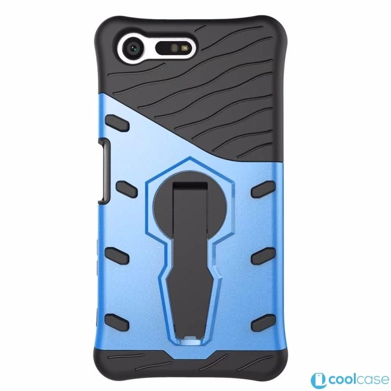 Odolné pouzdro NEW ARMOR CASE na mobilní telefon Sony Xperia X Compact Modré (Odolný kryt či obal na mobil Sony Xperia X Compact se stojánkem)