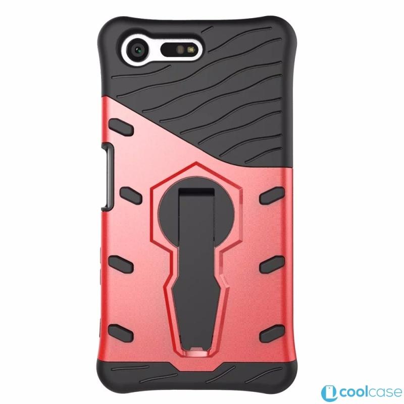 Odolné pouzdro NEW ARMOR CASE na mobilní telefon Sony Xperia X Compact Červené (Odolný kryt či obal na mobil Sony Xperia X Compact se stojánkem)
