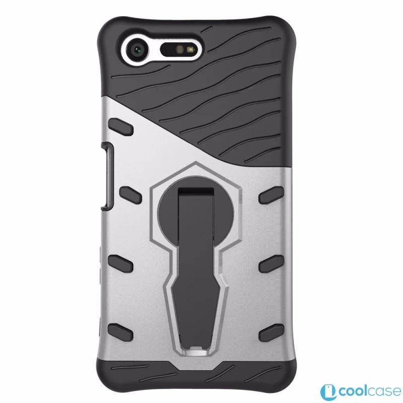 Odolné pouzdro NEW ARMOR CASE na mobilní telefon Sony Xperia X Compact Stříbrné (Odolný kryt či obal na mobil Sony Xperia X Compact se stojánkem)