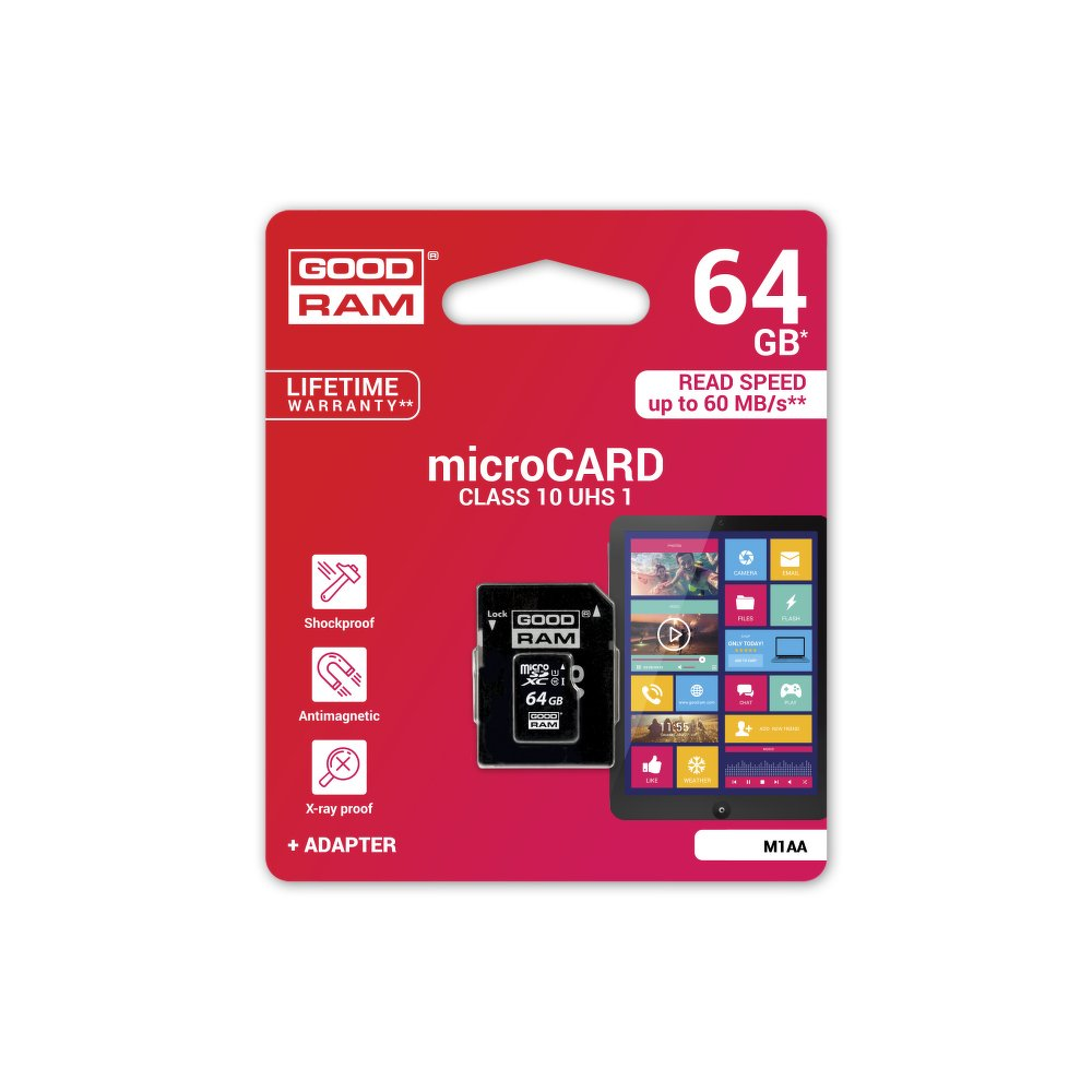 Paměťová karta micro SDHC 64GB GOOD RAM Class 10 (Paměťová karta micro SDHC od firmy GOOD RAM s kapacitou 64GB)