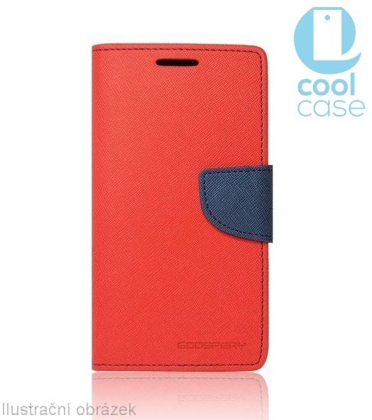 Flipové pouzdro na mobil FANCY BOOK LENOVO Vibe C2 Dual SIM ČERVENÉ (Flipové knížkové vyklápěcí pouzdro na mobilní telefon Lenovo Vibe C2 Dual SIM)