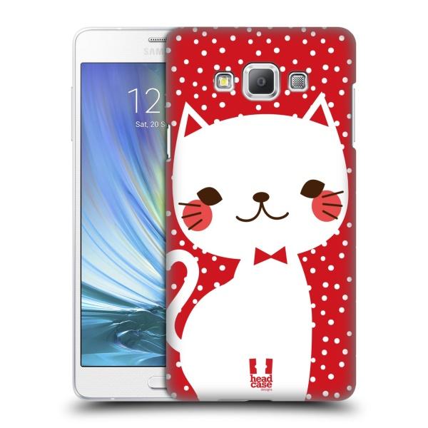 Plastové pouzdro na mobil Samsung Galaxy A7 HEAD CASE KOČIČKA BÍLÁ NA ČERVENÉ (Kryt či obal na mobilní telefon Samsung Galaxy A7 A700)