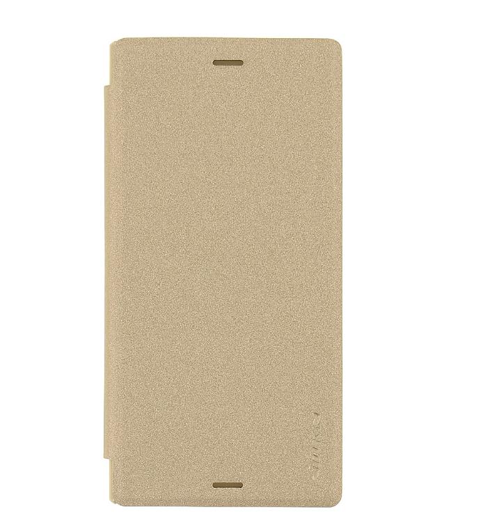 Flipové pouzdro na mobil Nillkin Folio Sony Xperia XZ zlatavé (Flip vyklápěcí kryt či obal na mobil Sony Xperia XZ)