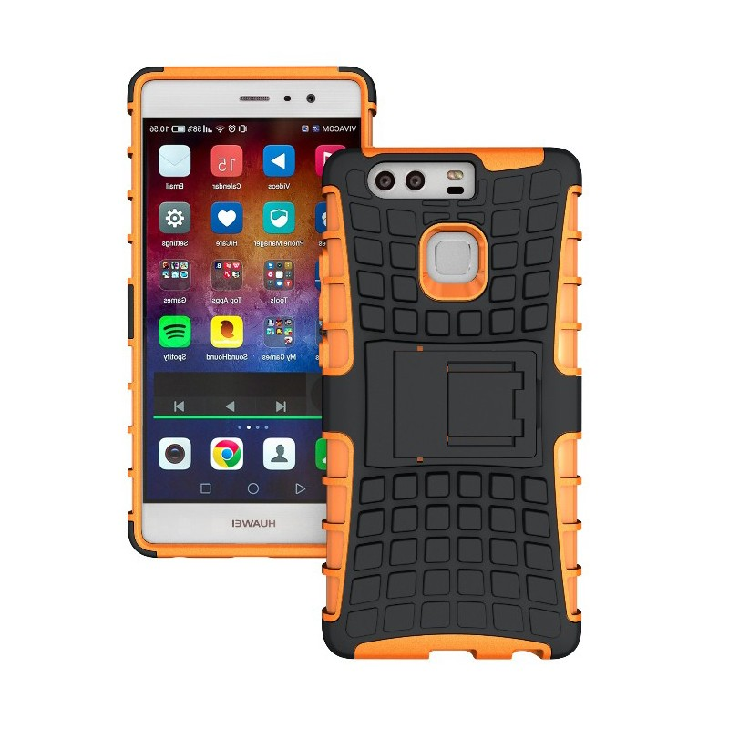 Odolné pouzdro na mobil PANZER CASE NEO na mobilní telefon Huawei P9 Oranžové (Odolný kryt či obal na mobil Huawei P9 se stojánkem)