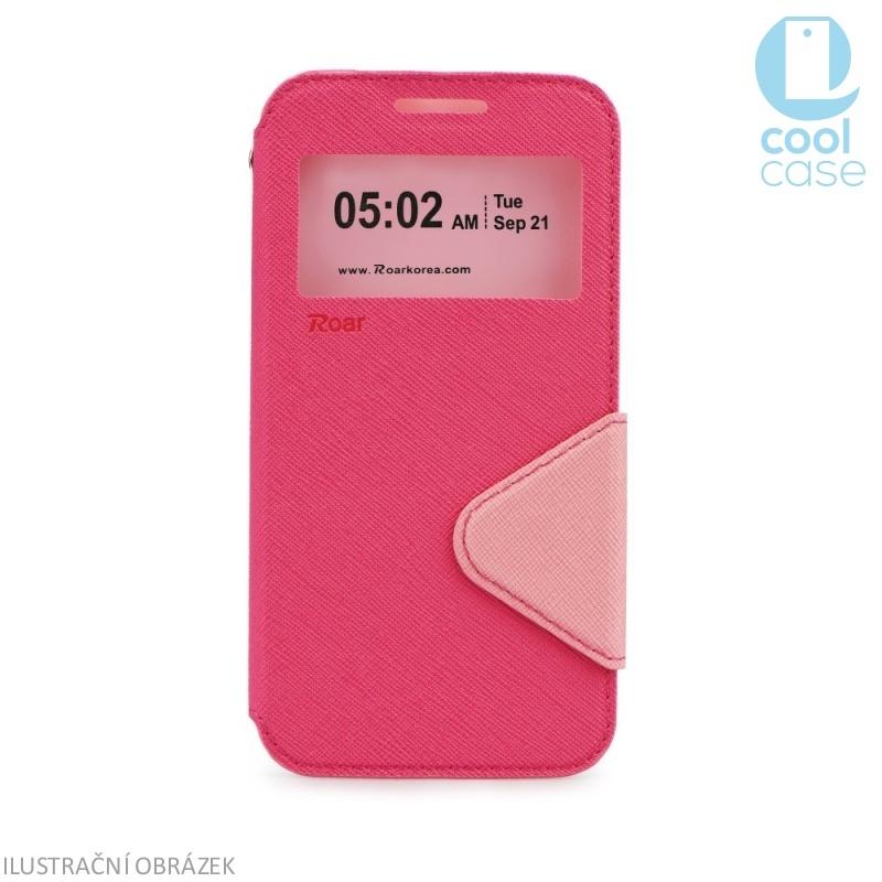 Flipové pouzdro s okénkem ROAR VIEW na mobil Sony Xperia M4 AQUA Růžové (Flip knížkový kryt či obal na mobil Sony Xperia M4 AQUA s okénkem)