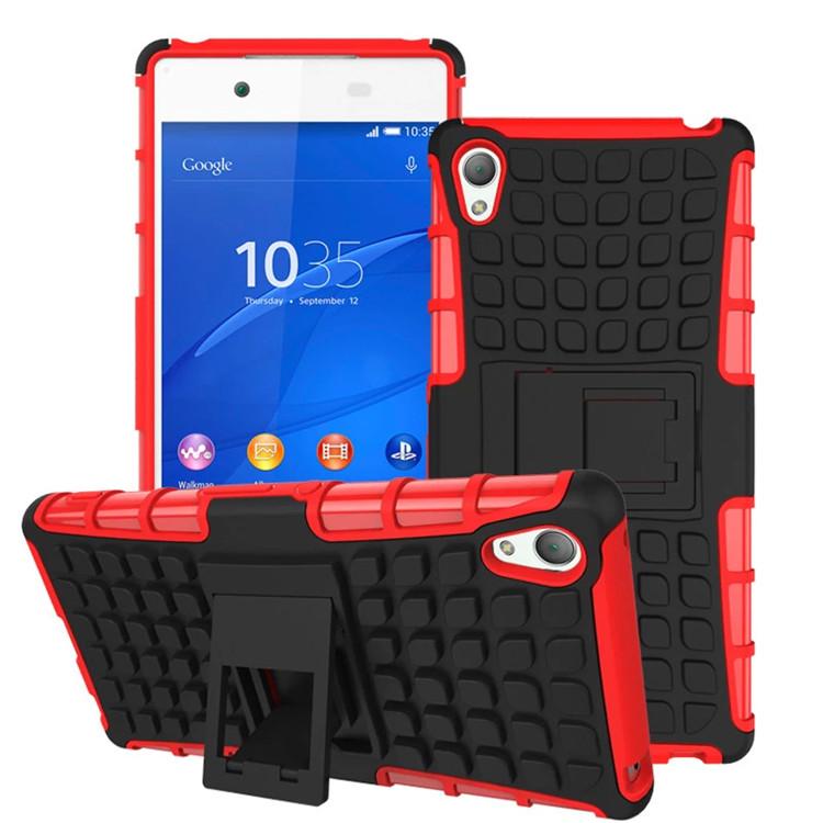 Odolné pouzdro PANZER CASE na mobilní telefon Sony Xperia Z3+ (plus) Červené (Odolný kryt či obal na mobil Sony Xperia Z3+ (plus) / Z4 se stojánkem)