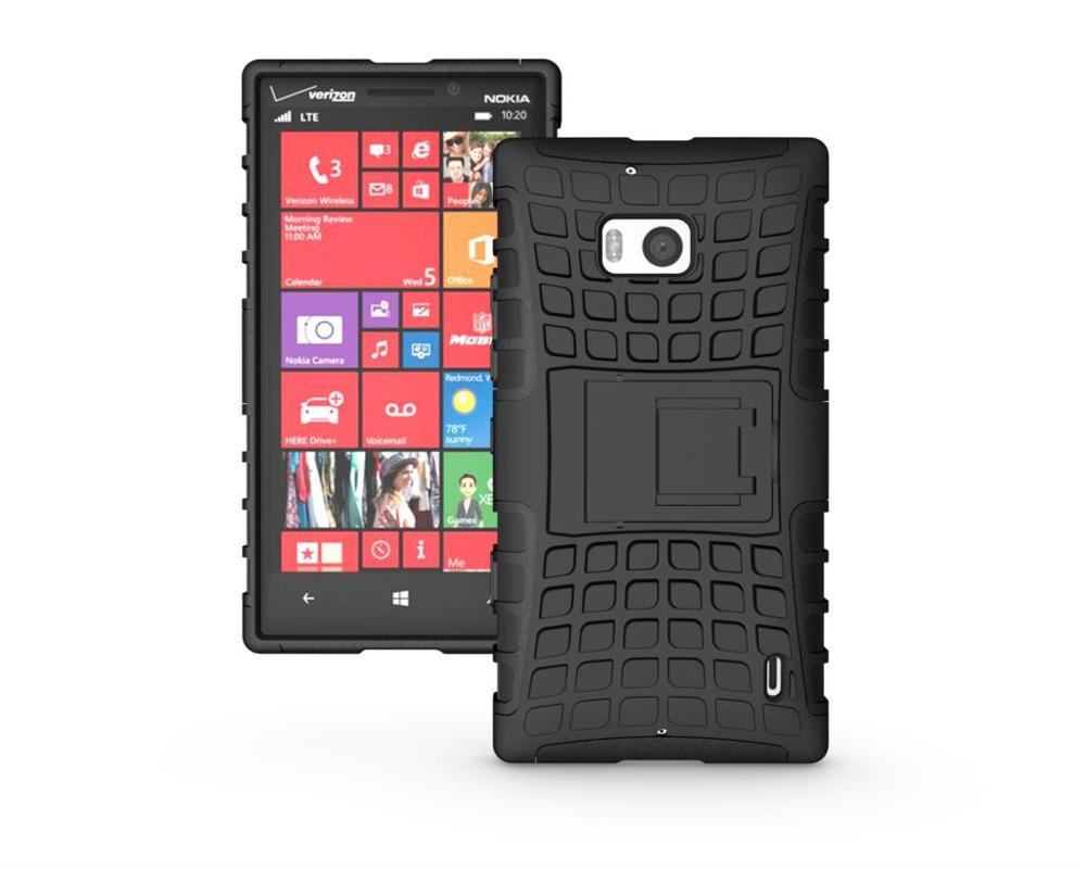 Odolné pouzdro PANZER CASE na mobilní telefon Microsoft Lumia 930 ČERNÉ (Odolný kryt či obal na mobil Nokia Lumia 930 se stojánkem)
