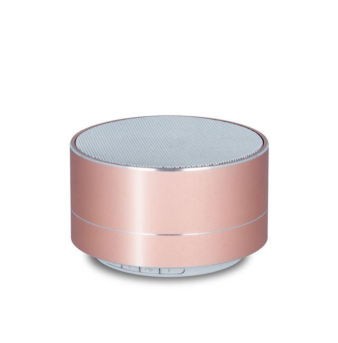 Bluetooth reproduktor FOREVER PBS-100 + slot Micro SD + FM Rádio růžovo - zlatý (Stylový bluetooth reproduktor s podporou paměťových karet a FM rádiem)