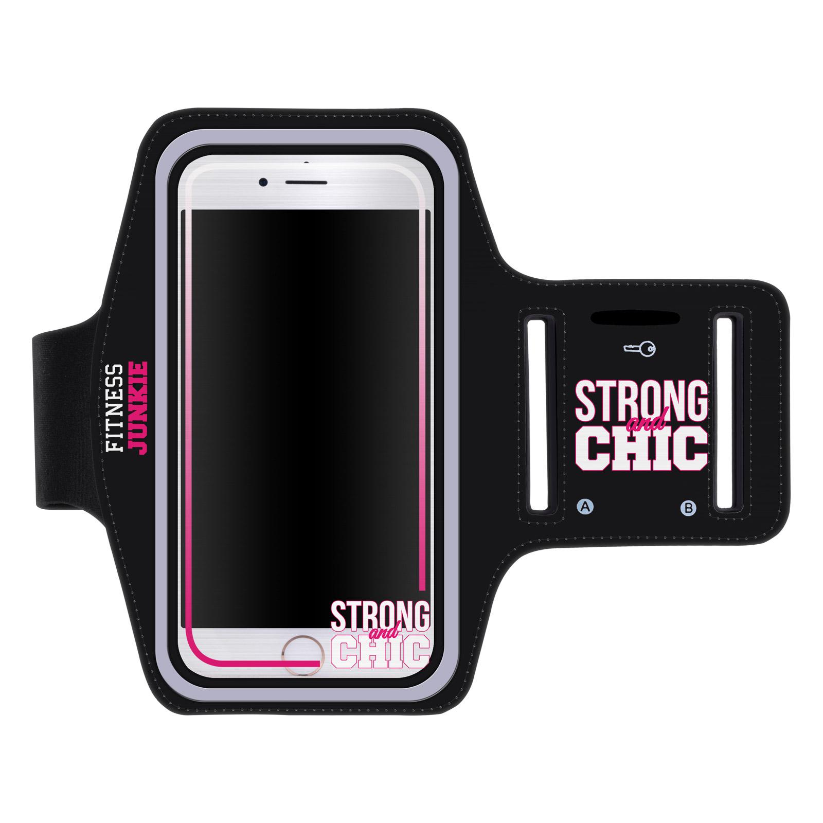 """Sportovní pouzdro na ruku STRONG AND CHIC pro mobily do 5,1"""" iPhone 6 / S7 ČERNÉ (Pouzdro na běhání pro mobilní telefony do 5,1 palců)"""