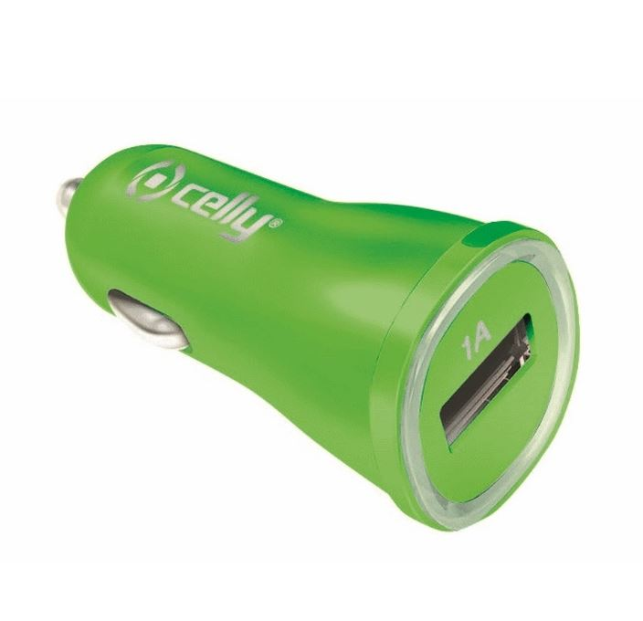 Nabíječka a CL adaptér do auta CELLY 1A, USB výstup, zelený (CELLY CL adaptér, autonabíječka, nabíječka do auta, USB výstup)