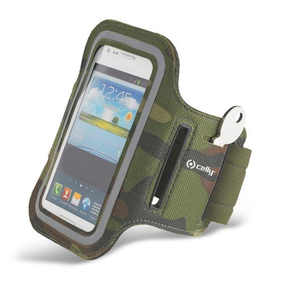 Sportovní pouzdro na ruku CELLY, vel. XXL na Galaxy S4 a podobné mobily, khaki (Sportovní pouzdro na běhání s připavněním na ruku)