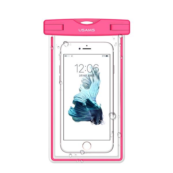"""Vodotěsné pouzdro USAMS Luminous IPX8 pro mobilní telefony do 5,5"""" Pink (Vodotěsné pouzdro pro mobilní telefony s úhlopříčkou do 5,5 palců)"""