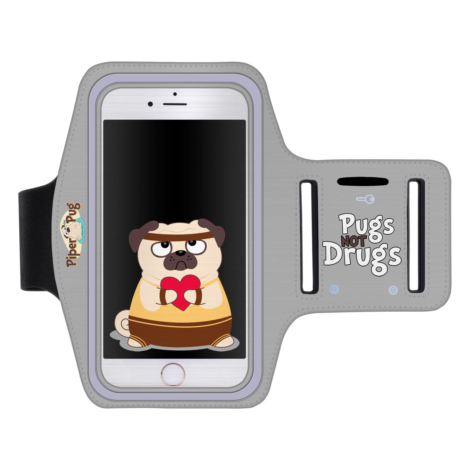 """Sportovní pouzdro PUGS NOT DRUGS pro mobily do 5,5"""" iPhone 6 Plus/ S7 Edge šedé (Pouzdro na běhání pro mobilní telefony do 5,5 palců)"""