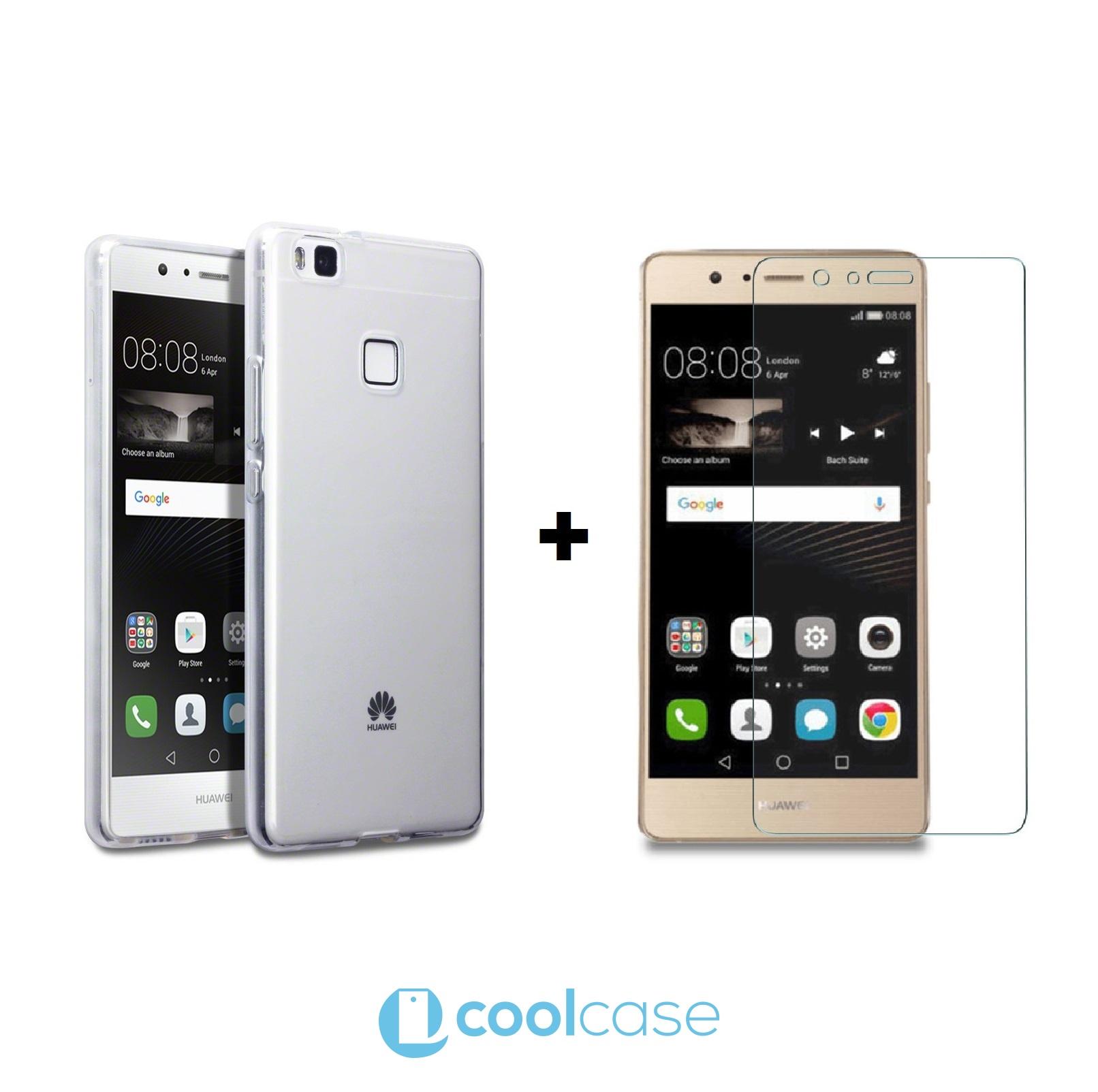 Kompletní ochrana mobilu Huawei P9 Lite - silikonové pouzdro + ochranné sklo (Kompletní ochrana mobilního telefonu Huawei P9 Lite - tvrzené ochranné sklo a čiré silikonové pouzdro)