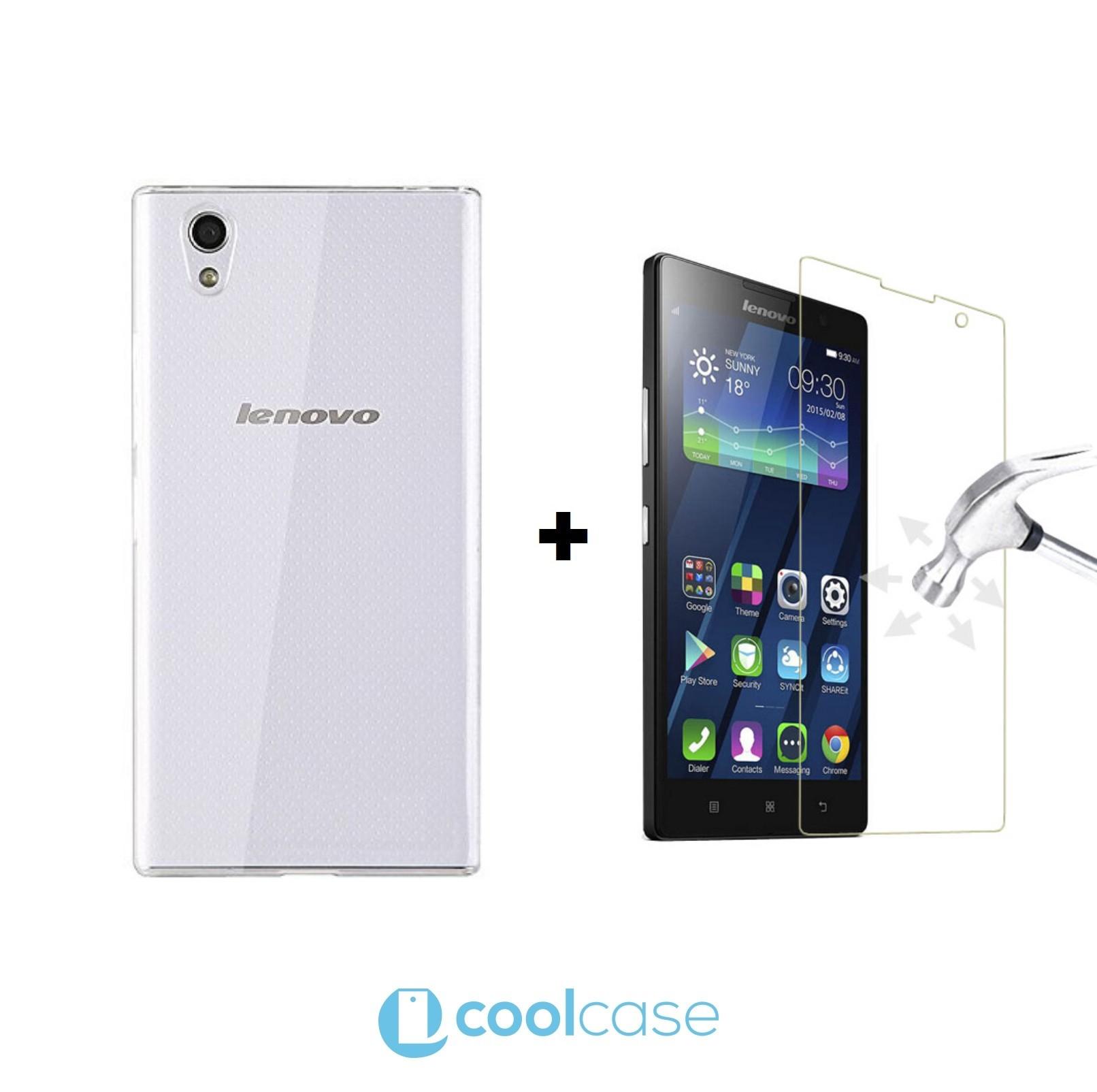 Kompletní ochrana mobilu Lenovo P70 - silikonové pouzdro + ochranné sklo (Kompletní ochrana mobilního telefonu Lenovo P70 - tvrzené ochranné sklo a čiré silikonové pouzdro)