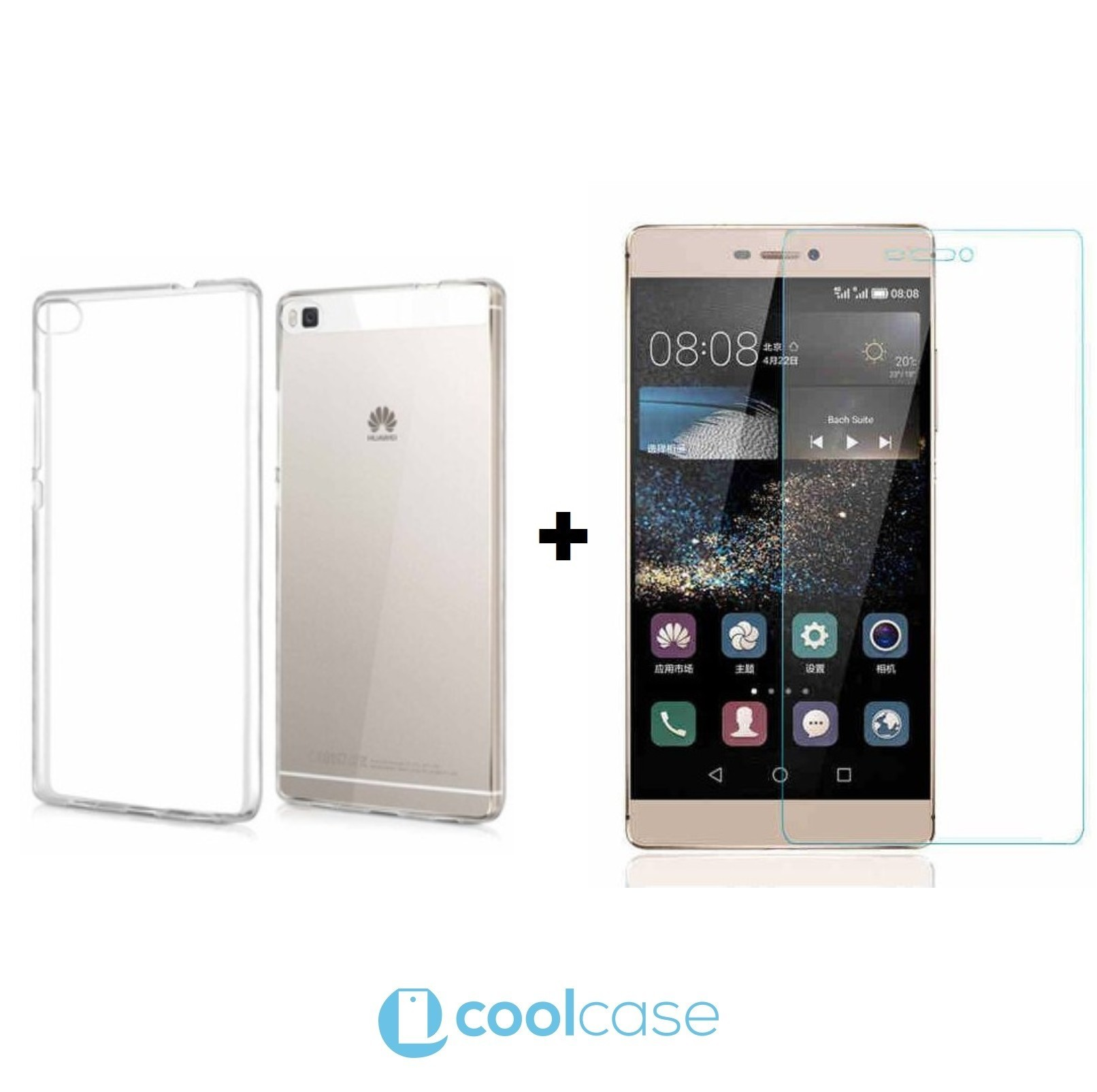 Kompletní ochrana mobilu Huawei P8 Lite - silikonové pouzdro + ochranné sklo (Kompletní ochrana mobilního telefonu Huawei P8 Lite - tvrzené ochranné sklo a čiré silikonové pouzdro)