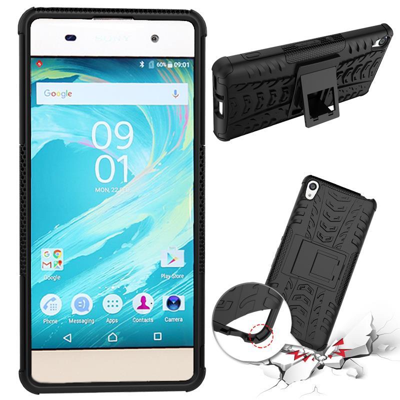 Odolné pouzdro PANZER CASE NEO na mobilní telefon Sony Xperia XA Černé (Odolný kryt či obal na mobil Sony Xperia XA se stojánkem)