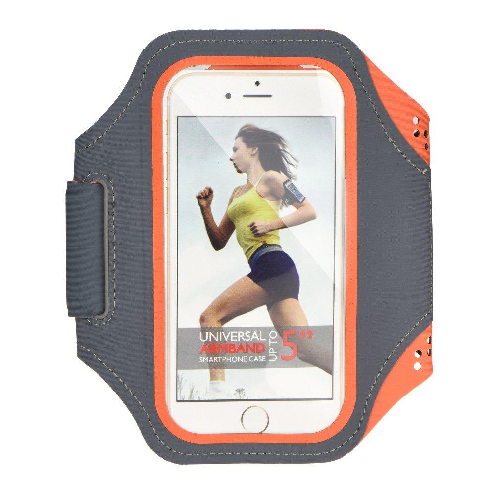 """Sportovní pouzdro na ruku na běhání Armband pro mobily do 5"""" Šedo oranžové (Pouzdro na běhání pro mobilní telefony do 5 palců)"""