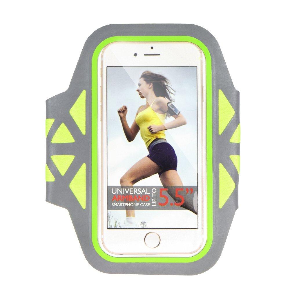 """Sportovní pouzdro na ruku na běhání Armband pro mobily do 5"""" Šedo zelené (Pouzdro na běhání pro mobilní telefony do 5 palců)"""